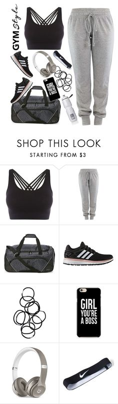 """Work it out"" by kaitgodislove ❤ liked on Polyvore featuring Pepper & Mayne, Fila, Victoria's Secret, adidas, Monki, Caso, Beats by Dr. Dre, NIKE, contest and gymessentials"