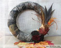 Camo Wreath  OOAK Hunting Wreath Feathers Leaves 14 by TwoPinkies, $50.00