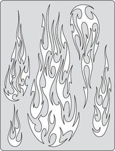 Iwata-Medea Artool Freehand Airbrush Templates, Flame-O-Rama 2 - Fire Balz Skull Stencil, Tattoo Stencils, Stencil Art, Skull Art, Stenciling, Leather Tooling Patterns, Leather Pattern, Stencil Templates, Stencil Patterns