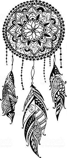 Mandala art print featuring the drawing hand-drawn mandala dreamcatcher with feathers. Mandala Art, Mandala Tattoo Design, Mandala Arm Tattoo, Mandalas Painting, Mandalas Drawing, Tattoo Designs, Mandala Feather, Tattoo Ideas, Henna Designs