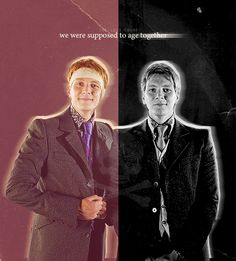George and Fred Weasley. :'( ~ Harry Potter and the Deathly Hallows Saga Harry Potter, Mundo Harry Potter, Harry Potter Feels, Harry Potter Jokes, Harry Potter Universal, Harry Potter Characters, Harry Potter World, Fictional Characters, Familia Weasley