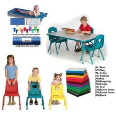 Daycare Classroom Essentials for Six, Ages 2-6, COTS. 1 - 30 x 48 Table, Adjusts from 16-24 inches in one increments, Ball Glide. 1 - Set of 6 Chairs, Split Bucket Design, 12 inch chairs, Ball Glide. 1 - Set of 6 Standard Size Cots - YOUTH SIZE, Dimensions in inches: 22W x 52L x 5