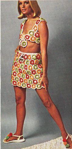 Items Similar To Vintage Crochet Hippie Fun Skirt Top Sandals Pdf Pattern Digital On Etsy