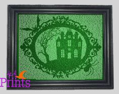 A haunted house surrounded by a creepy ornate frame. Each image is created with the lyrics and words of several scary songs and poems, perfect for