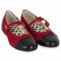 Moschino Red Suede T-Bar Mary-Janes
