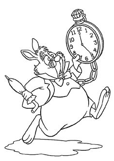 Alice in wonderland coloring pages rabbit for kids, printable free