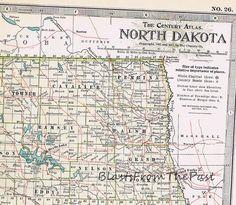 1911 Antique MAP of NORTH DAKOTA Authentic by BlastsFromThePast
