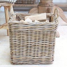 Hessian Lined Square Log Basket