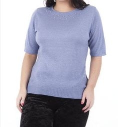 Short Sleeved Beaded Detail Jumper PLUS SIZES AVAILABLE via Plus Size Online Clothing Store. Click on the image to see more!