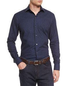 Micro Floral-Print Long-Sleeve Sport Shirt, Navy