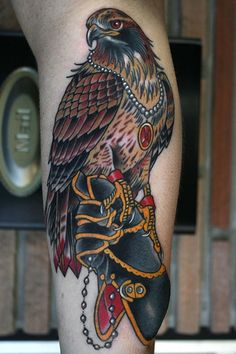 Color Ink Hawk Tattoo On Left Sleeve