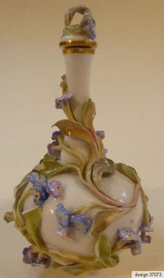 RARE ANTIQUE GERMAN MEISSEN PORCELAIN PERFUME SCENT FLACON FLASK BOTTLE 1870: