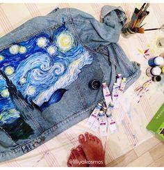 mom's levi's starts a new life. denim painted denim art jeans levis vangogh jacket fashion handmade liliyakosmos vintage
