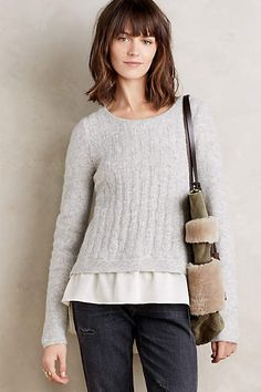 Anthropologie EU Amity Layered Cable Pullover by Moth.