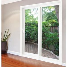 Windows Discover Stanley Doors 59 in. x 80 in. Glacier White Vinyl Left-Hand Low-E Sliding Patio Door with Screen Handle Set and Nailing - The Home Depot Door Design, Door Window Treatments, Patio Doors, White Vinyl, French Doors Patio, Build Your House, Doors, Sliding Doors Exterior