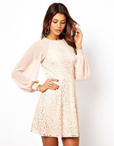 ASOS Lace Shift Dress With Blouson Sleeves  ack. i love lana del rey style blouson sleeves.