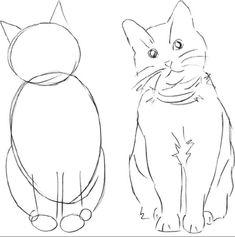 Pencil Art Drawings, Art Drawings Sketches, Easy Drawings, Animal Sketches, Animal Drawings, Simple Cat Drawing, Cat Drawing Tutorial, Cat Sketch, Arte Sketchbook