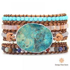 Ocean Blue Stone Connector For Boho Leather Friendship Wrap Bracelet Chic Jewelry Bohemian Bracelet Making - JP Bohemian Bracelets, Boho Jewelry, Gemstone Bracelets, Jewelry Bracelets, Necklaces, Unique Jewelry, Stone Wrapping, Jasper Stone, Jasper Blue