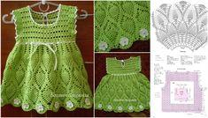 construcción de vestido de punto verde con flores