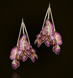 Flower Bunch Earrings. Set with a Mixture of Pink Sapphires. 18K Yellow Gold by Andre Marcha
