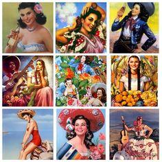 Retro Mexico: iconic Mexican Calendar Girls! #mexicoimportart #Mexico