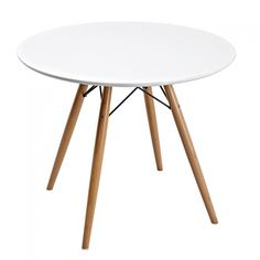 Masa rotunda Eames Table For Small Space, Chairs For Small Spaces, Small Dining, Round Wood Dining Table, Dining Table In Kitchen, Dining Rooms, Eames, Home Craft Decor, Butterfly Leaf Table