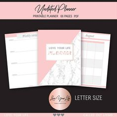Printable Planner 2017 2018 undated LETTER weekly view