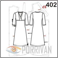 Выкройка построена для кройки из эластичных материалов, для повседневного платья лучше всего подойдут джерси или трикотаж, при шитье вечернего варианта мож