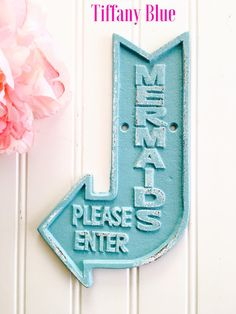 Delicieux Small Cast Iron Mermaid Bathroom Sign Refinished In Tiffany Blue And Then  Distressed.