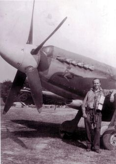 "F/L Herbert D ""Johnny"" Johnson of No 91 Squadron RAF poses with Spitfire Mk XIVc DL-K BRÜNHILDE at RAF West Malling in July 1944. With a total of 13½ flying bombs destroyed, Johnson was one of the most successful V1 destroying Spitfire pilots. The aircraft was also used to add to the total victories of F/O Ken Collier and Cne Jean Maridor."