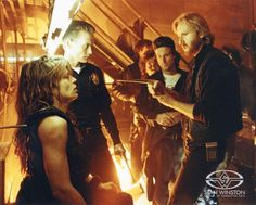 Happy Birthday to the legendary . Image: James Cameron with Linda Hamilton and Stan Winston Studio crew members John Rosengrant and Richar Landon on the set of Terminator . King Kong, New Terminator Movie, Os Goonies, I Movie, Movie Stars, Gorgeous Movie, Hamilton, John Connor, Character Creator