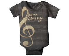 Music Notes Baby Boy Bodysuit Personalized Treble Clef Rock and Roll Clothing Baby Onepiece Custom One Piece (24.95 USD) by SimplySublimeBaby