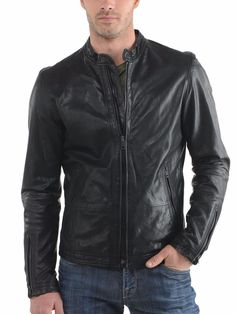 Men's Leather Jacket Handmade Black Motorcycle Solid Lambskin Leather Coat - M68…