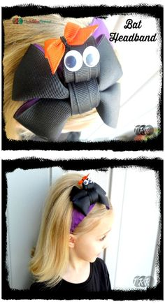 Learn how to make the cutest and friendliest bat around with this easy Bat Headband tutorial. This cute accessory is perfect for your Halloween attire. Diy Hair Bows, Bow Hair Clips, Ribbon Retreat, Halloween Hair Bows, Ribbon Bows, Hair Ribbons, Ribbon Crafts, Ribbon Sculpture, Gift Bows