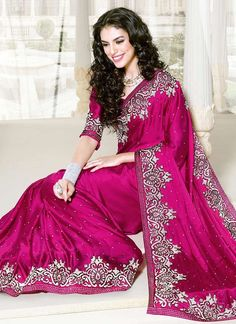 Imaginative Magenta Satin Saree
