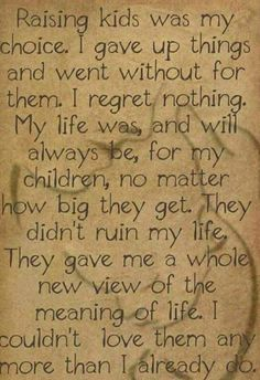 I regret nothing,my life was and will always be for my children no matter how big they get. They didn't ruin my life, they gave me a whole new view of the meaning of life Quotes For Kids, Great Quotes, Quotes To Live By, Life Quotes, Inspirational Quotes, Quotes For My Daughter, Raising Kids Quotes, Funny Quotes, Baby Quotes