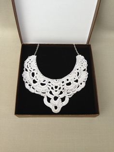 White Crochet Necklace Crochet Jewelry Lace Holiday by Anchro, $25.00