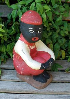 Black Watermelon Boy Statue Midnite Blue Model Lawn