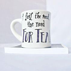 Funny mug, tea cup, tea mug, diner mug, black white purple, Need for Tea, caffeine addict, gag gift, ceramic mug, top gun, eighties by KnotworkShop on Etsy https://www.etsy.com/listing/123636314/funny-mug-tea-cup-tea-mug-diner-mug