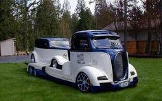 Cab Over Engine Custom Truck/Trailer Combo with Classic 1933 HotRod on the bed.