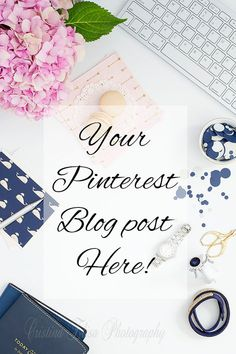 Navy Blue and Pink Flatlay | Blog Mock up  | Vertical Pinterest Layout | Feminine Desk | Styled Stock Photography | Pink Blue | Macaron | Cristina Elisa Photography on Etsy
