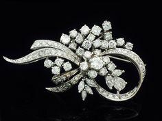 Vintage Brooch Solid 14k White Gold 5 76 CTW Fine Estate Jewelry | eBay