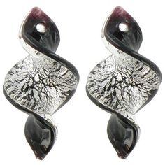 Bead Treasures Black & Silver Glass Twist Earring Pendants | Shop Hobby Lobby