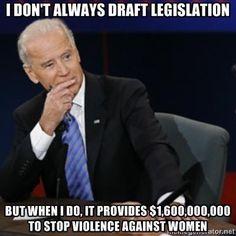 Way to go Joe! When Paul Ryan drafts legislation it economically punishes women, children, veterans, seniors, the working poor, etc. You know, the 47%.