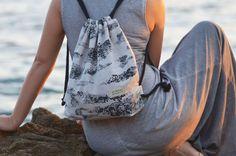 Drawstring backpack by Printlab Gabi Bano Cotton String, Silk Screen Printing, Abstract Pattern, Fabric Patterns, Cotton Linen, Drawstring Backpack, Fashion Backpack, Gray Color, Backpacks
