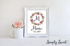 CUSTOM PRINT, Last Name Art, last name wall art, family name sign, personalized wedding gift, floral wreath, floral art, floral wreath print