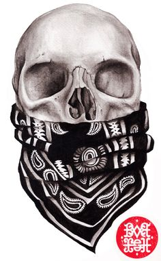 Juxtapoz Magazine - Work by Barish - This is a picture of a skull with a bandana around its mouth. I chose this picture because even tho -