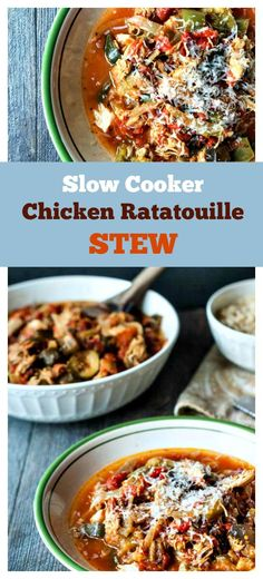 Slow Cooker Chicken Ratatouille Stew - easy, healthy and heart warming meal in minutes.