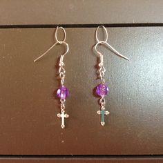 Lavender Bead/Small Cross Dangle