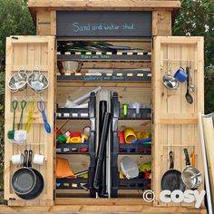 Self selection shed for outdoor continuous provision - Sand and water. Eyfs Classroom, Outdoor Classroom, Outdoor School, Outdoor Learning Spaces, Outdoor Education, Natural Playground, Outdoor Playground, Playground Ideas, Preschool Playground